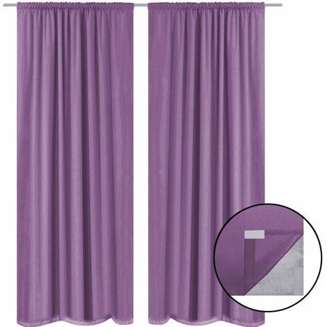 Blackout Curtains 2 pcs Double Layer 140x175 cm Lilac