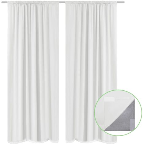 Blackout Curtains 2 pcs Double Layer 140x175 cm White