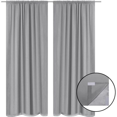 Blackout Curtains 2 pcs Double Layer 140x245 cm Grey