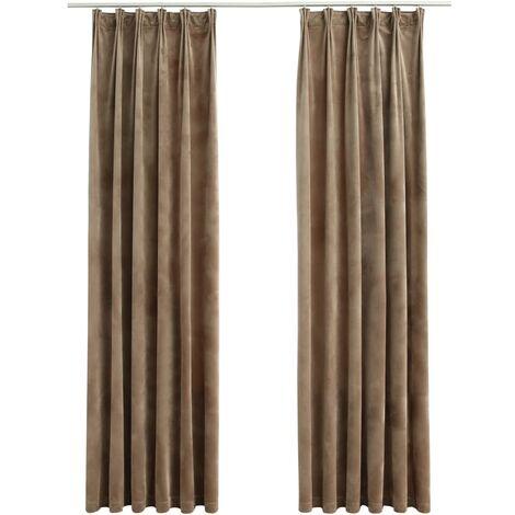 Blackout Curtains 2 pcs with Hooks Velvet Beige 140x175 cm