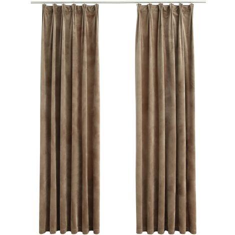 Blackout Curtains 2 pcs with Hooks Velvet Beige 140x225 cm