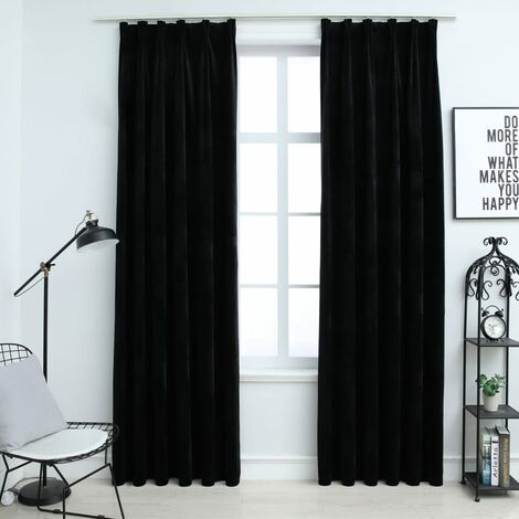 Blackout Curtains 2 pcs with Hooks Velvet Black 140x175 cm