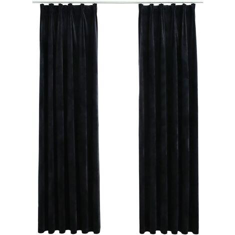 Blackout Curtains 2 pcs with Hooks Velvet Black 140x225 cm
