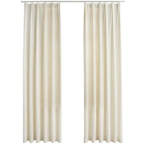 Blackout Curtains 2 pcs with Hooks Velvet Cream 140x175 cm