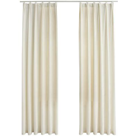 Blackout Curtains 2 pcs with Hooks Velvet Cream 140x225 cm
