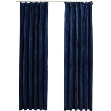 Blackout Curtains 2 pcs with Hooks Velvet Dark Blue 140x245 cm