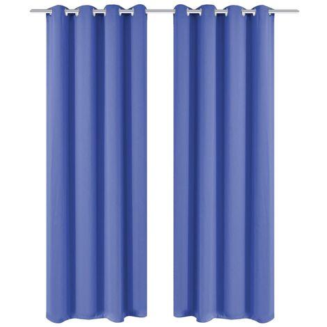 Blackout Curtains 2 pcs with Metal Eyelets 135x175 cm Blue