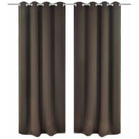 Blackout Curtains 2 pcs with Metal Eyelets 135x175 cm Brown