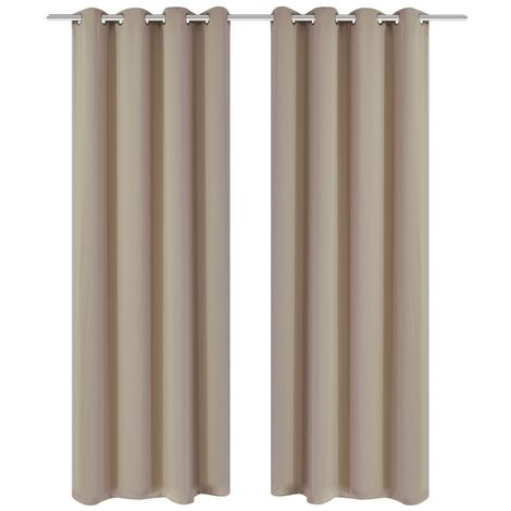Blackout Curtains 2 pcs with Metal Eyelets 135x175 cm Cream