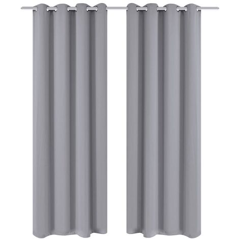 Blackout Curtains 2 pcs with Metal Eyelets 135x175 cm Grey