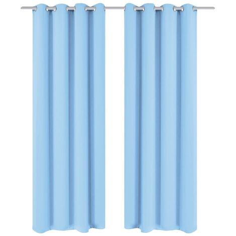 Blackout Curtains 2 pcs with Metal Eyelets 135x175 cm Turquoise