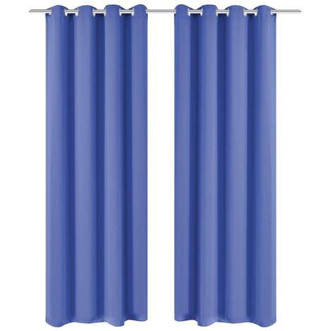 Blackout Curtains 2 pcs with Metal Eyelets 135x245 cm Blue