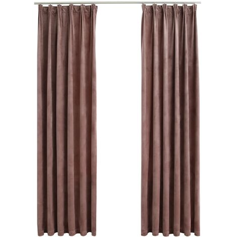 Blackout Curtains 2pcs with Hooks Velvet Antique Pink 140x175cm