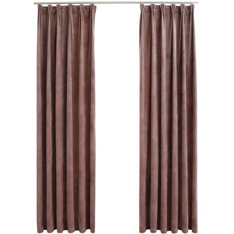 Blackout Curtains 2pcs with Hooks Velvet Antique Pink 140x225cm