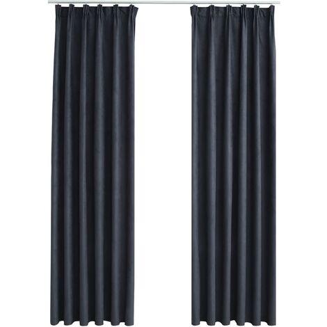 Blackout Curtains with Hooks 2 pcs Anthracite 140x175 cm