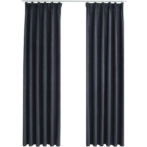 Blackout Curtains with Hooks 2 pcs Anthracite 140x225 cm