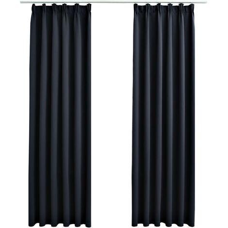 Blackout Curtains with Hooks 2 pcs Anthracite 140x245 cm