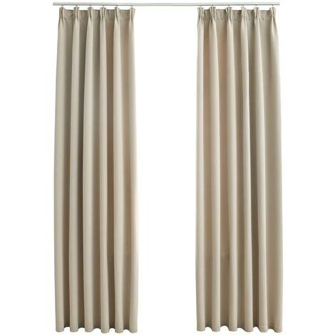 Blackout Curtains with Hooks 2 pcs Beige 140x175 cm