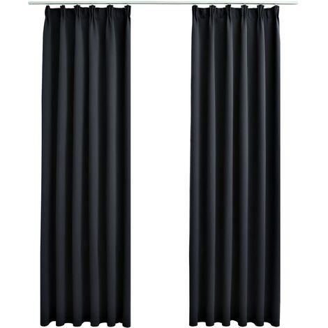 Blackout Curtains with Hooks 2 pcs Black 140x245 cm