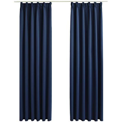 Blackout Curtains with Hooks 2 pcs Blue 140x225 cm