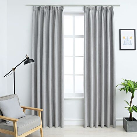 Blackout Curtains with Hooks 2 pcs Grey 140x225 cm