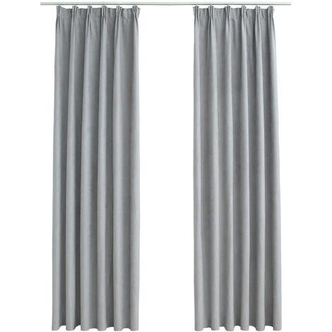Blackout Curtains with Hooks 2 pcs Grey 140x245 cm