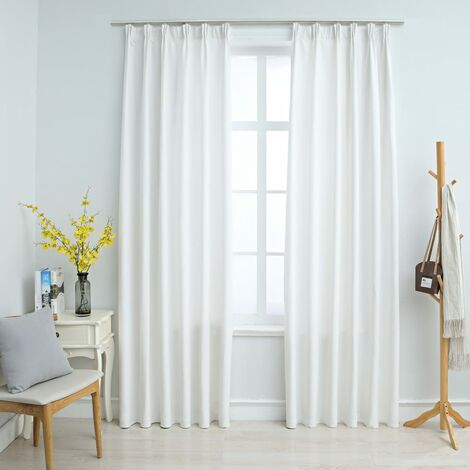 Blackout Curtains with Hooks 2 pcs Off White 140x225 cm
