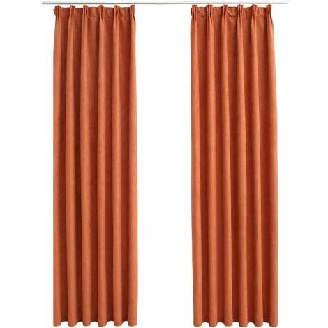 Blackout Curtains with Hooks 2 pcs Rust 140x175 cm