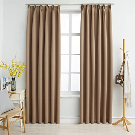 Blackout Curtains with Hooks 2 pcs Taupe 140x175 cm - Brown