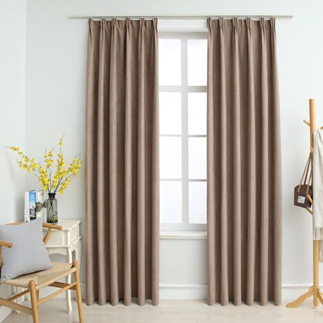 Blackout Curtains with Hooks 2 pcs Taupe 140x245 cm