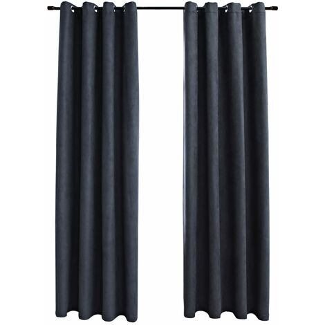 Blackout Curtains with Metal Rings 2 pcs Anthracite 140x245 cm