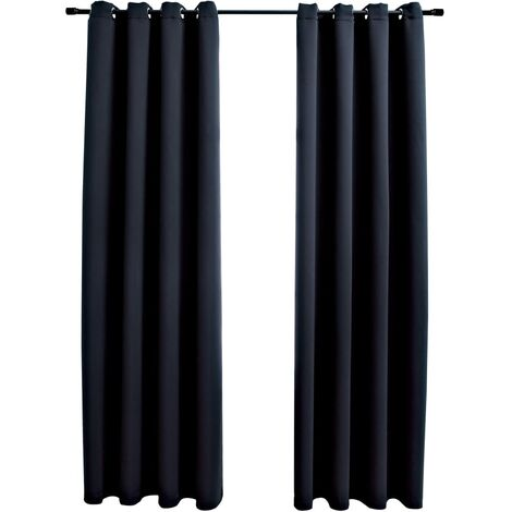 Blackout Curtains with Metal Rings 2 pcs Black 140x175 cm