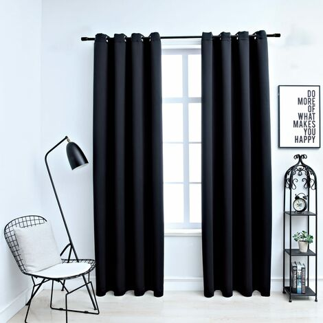 Blackout Curtains with Metal Rings 2 pcs Black 140x245 cm