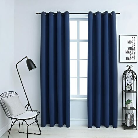 Blackout Curtains with Metal Rings 2 pcs Blue 140x225 cm