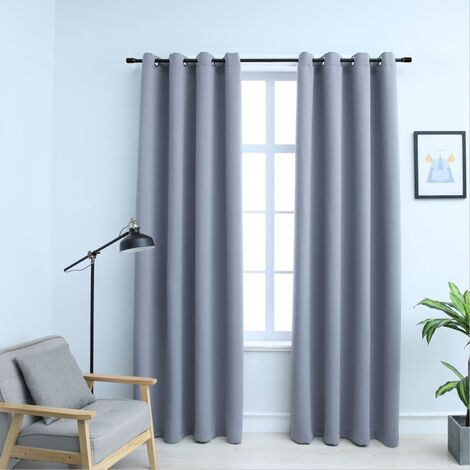 Blackout Curtains with Metal Rings 2 pcs Grey 140x245 cm