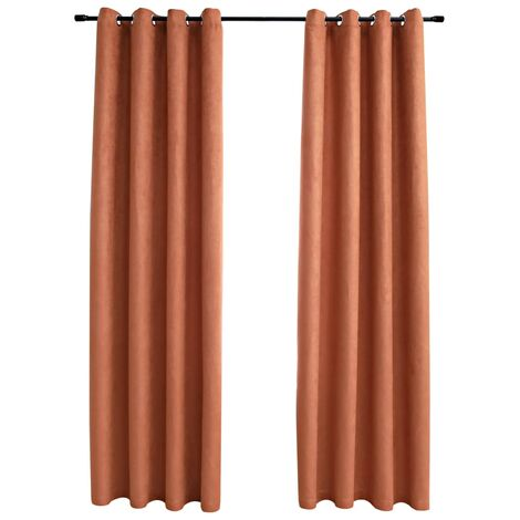 Blackout Curtains with Metal Rings 2 pcs Rust 140x245 cm