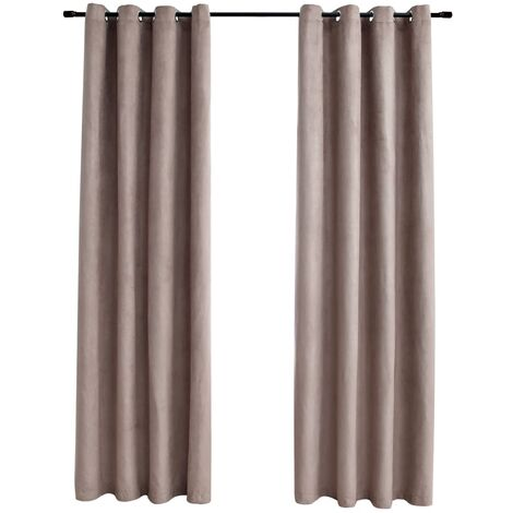 Blackout Curtains with Metal Rings 2 pcs Taupe 140x245 cm