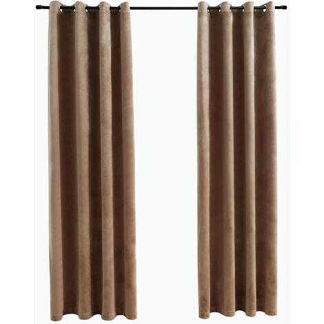 Blackout Curtains with Rings 2 pcs Velvet Beige 140x175 cm