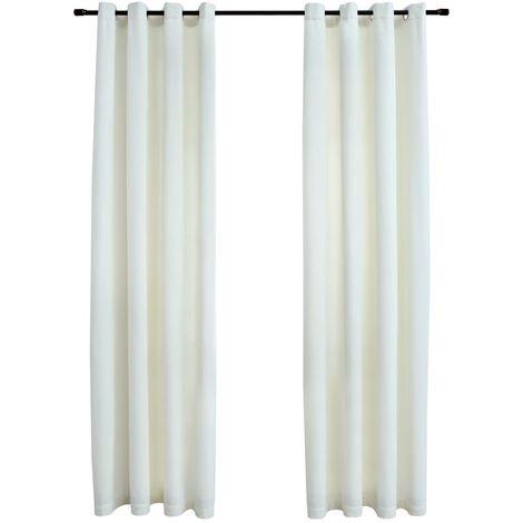 Blackout Curtains with Rings 2 pcs Velvet Cream 140x175 cm