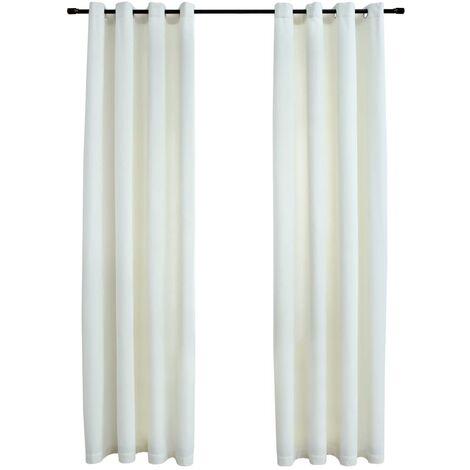 Blackout Curtains with Rings 2 pcs Velvet Cream 140x245 cm