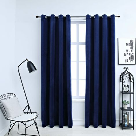 Blackout Curtains with Rings 2 pcs Velvet Dark Blue 140x225 cm