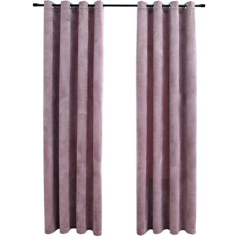 Blackout Curtains with Rings 2pcs Velvet Antique Pink 140x175cm