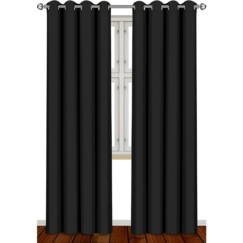 Blackout Thermal Insulated Room Darkening Grommet Curtains Window Panel Drapes - Set of 2 - 8 Grommets/Rings per Panel- 2 Tie Back Included- by