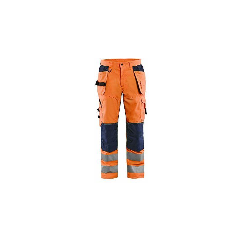 Image of Blaklader 156518115389C56 - Pantaloni da lavoro High Vis con effetto di ventilazione, colore: Arancione/Blu marino, taglia C56