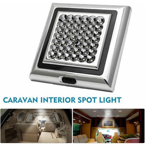 Blanc 42 LEDs Vehicule Voiture Campeur Bateau Caravane Lampe de Dome,Plafond,Toit Plafonnier Lumiere Interieure 12V d'Argent