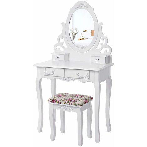 Blanc Coiffeuse Table de Maquillage avec Miroir et Tabouret 139 x 75 x 40 cm RDT04W