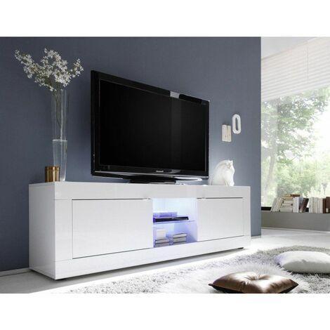 Blanc Meuble TV moderne 181 cm blanc Agathe Blanc