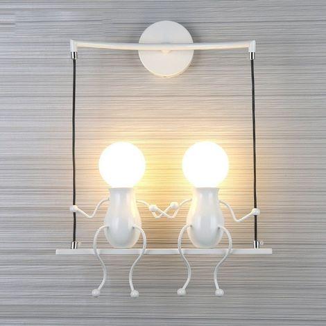 Blanc Moderne Lampe Murale Double E27 Douille Applique Créatif Simplicité Design Petite Personne Créatif E27 Luminaire pour Chambre d'enfant Couloir Décoratives Eclairage Cuisine Loft Bar