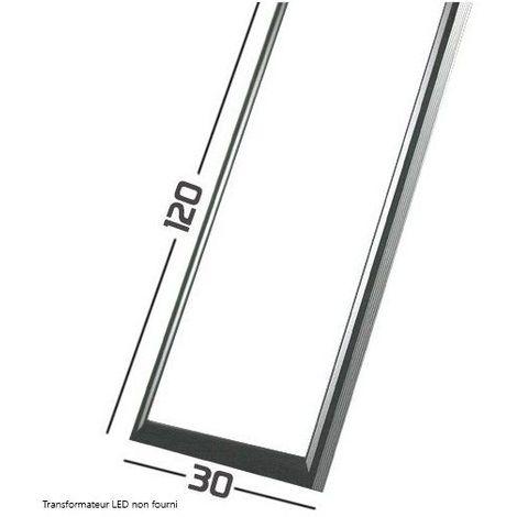 Blanc Neutre - Dalle LED Cadre Aluminium Gris -SMD Samsung - 120x30cm - 75W