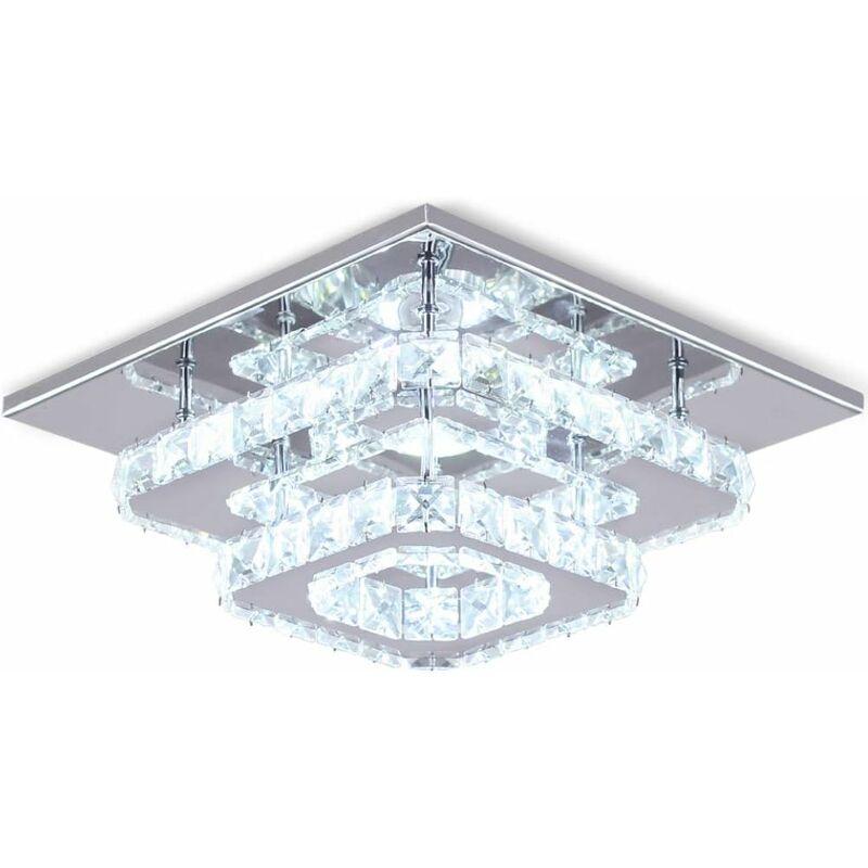 Acier Plafond SalonChambre Miroir Moderne Plafonnier Inoxydable Lampe 24w Blanc Lustre En Pour De Led Cristal xdCBoer